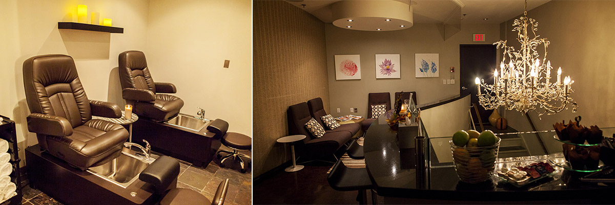 Pedicure stations and relaxation room at Urban Oasis Mineral Spa